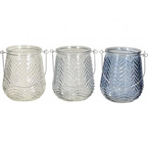 Blue Chevron Lanterns (Set of 3)