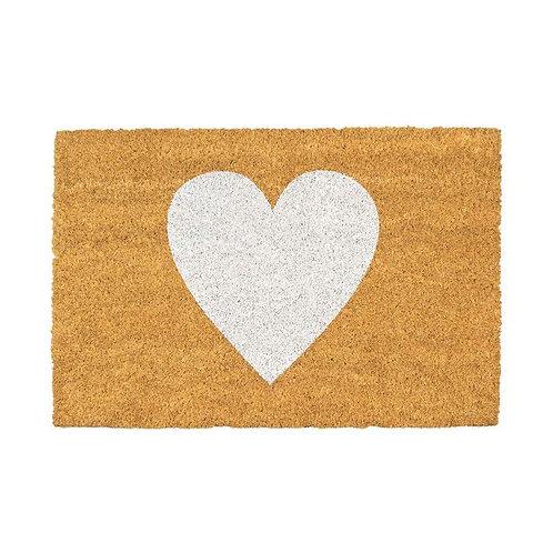 Heart Door Mat - White
