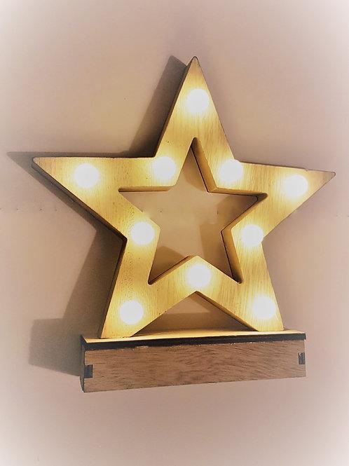 Wooden Light Up Star