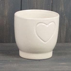 Cream Heart Embossed Pot 11cm