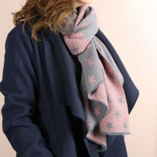 Pink and Grey Crinkle Star Scarf