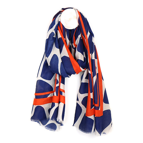 Navy Graphic Scarf