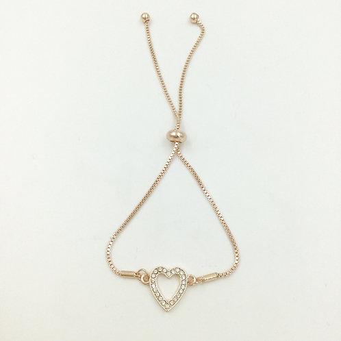 B20011 RG Sparkle Heart Bracelet