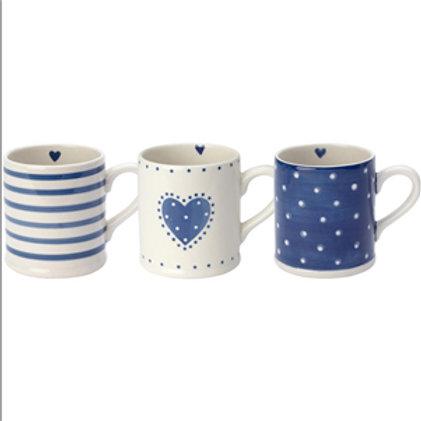 Blue and White Mugs (Set of 3)