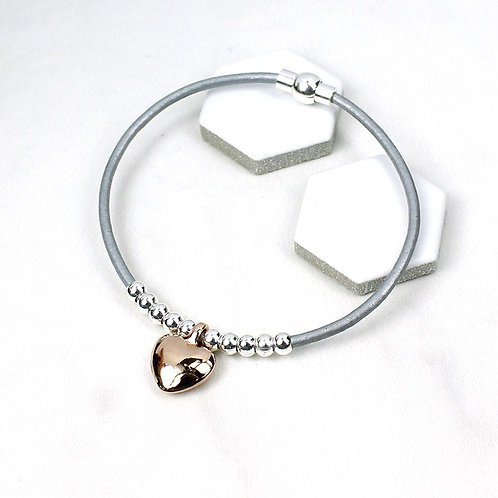 B10028 Rose Gold Heart on Leather Bracelet