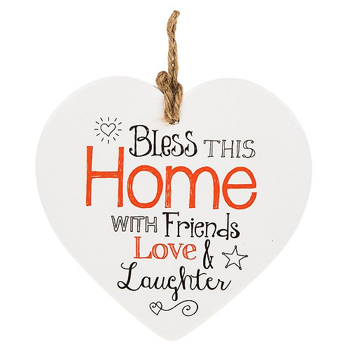 Ceramic Heart - Bless This Home with Friends, Love and Laughter