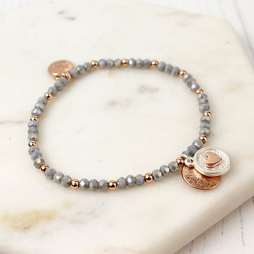 B19018 Grey Crystal Heart Bracelet