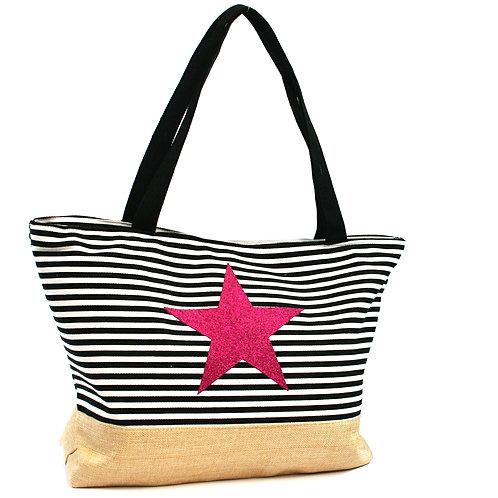 Black Striped Star Beach Bag