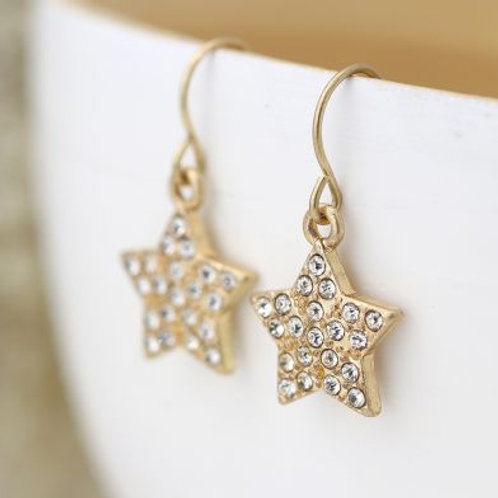 E21016 Crystal Star Drop Earrings