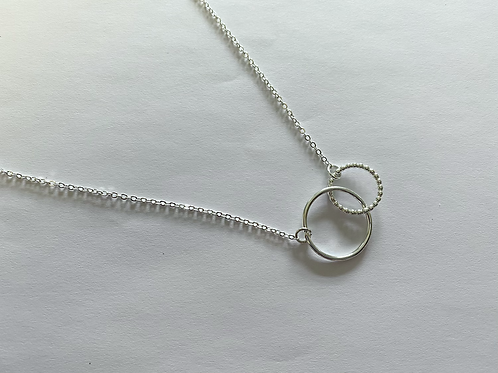 N10024 Double Silver Circle Necklace