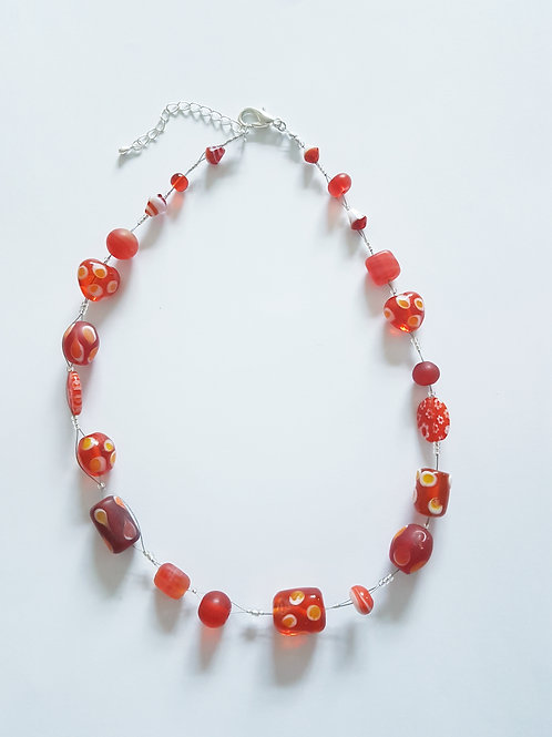 Red Wire Wrap Necklace