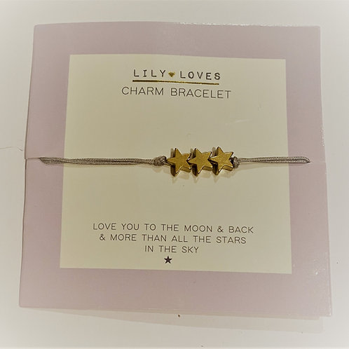 Love You To The Moon 3 Star Charm Bracelet
