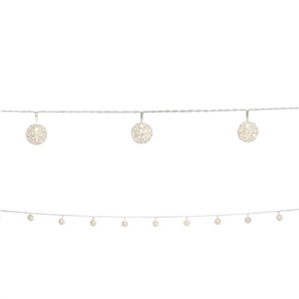 Silver Wire Ball LED Garland