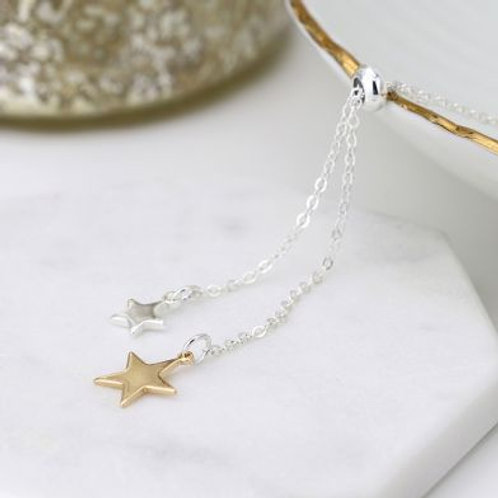 N21021 Shiny Double Star Lariat Necklace