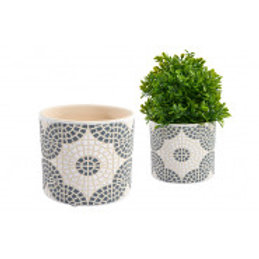 Grey Mosaic Plant Pot - Large