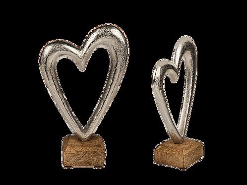 Silver Heart on Wood