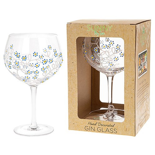 Handpainted Gin Glass - Forget Me Not