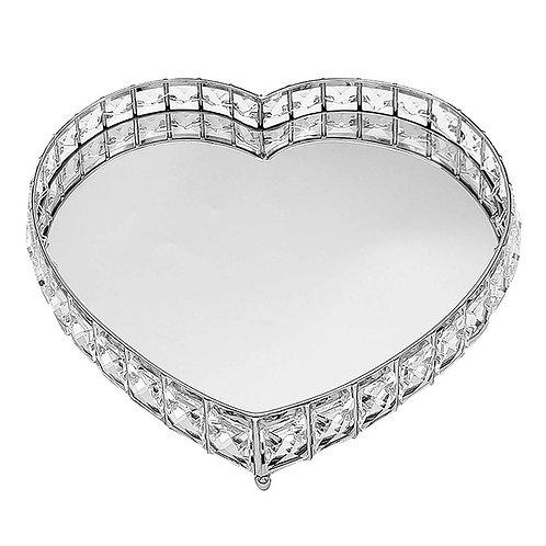 Crystal Heart Mirror Tray