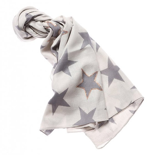 Grey Star Sequined Scarf