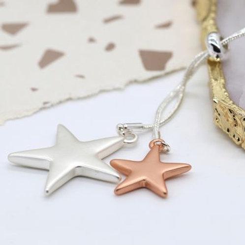 N21022 Matt Double Star Lariat Necklace