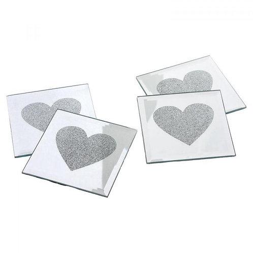 Silver Heart Coasters