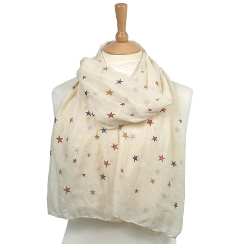 Cream Sparkle Star Scarf