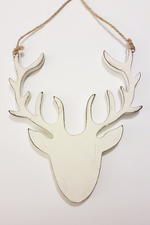 White Wooden Stag Head