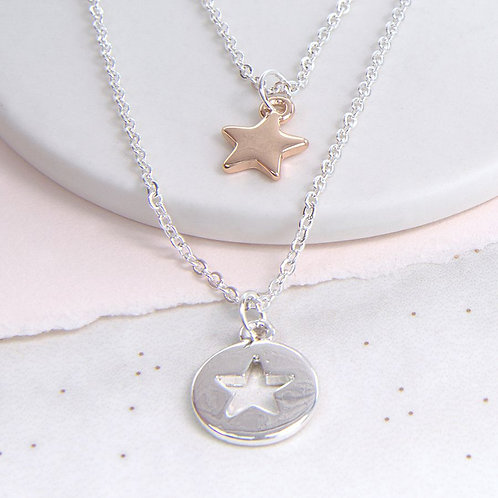 N20009 Double Cut Out Star Necklace