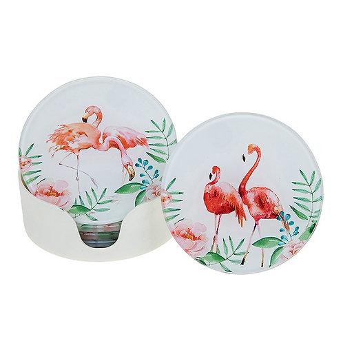 Glass Flamingo Coasters