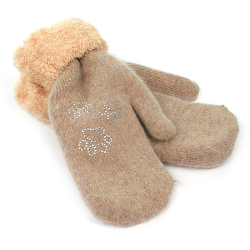 Taupe Woollen Mittens - Paws