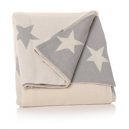 Cream and Grey Star Blanket