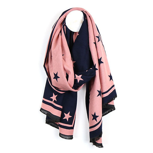 Navy and Pink Star Scarf