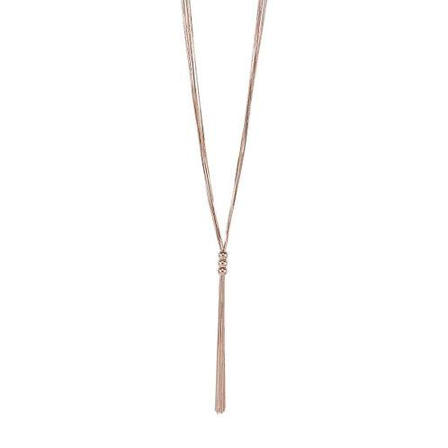 LN19033 Long Rose Gold Lariat Necklace