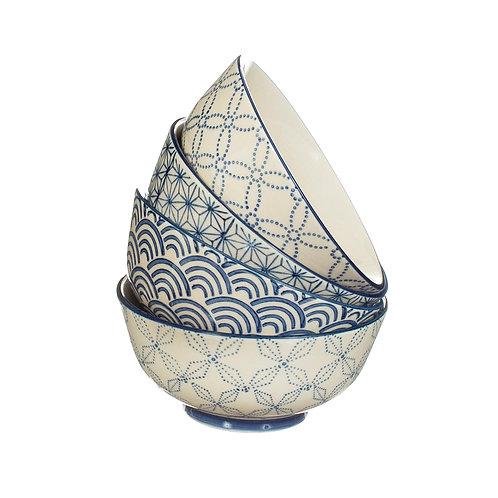 Sashiko Pattern Bowls (Set of4)