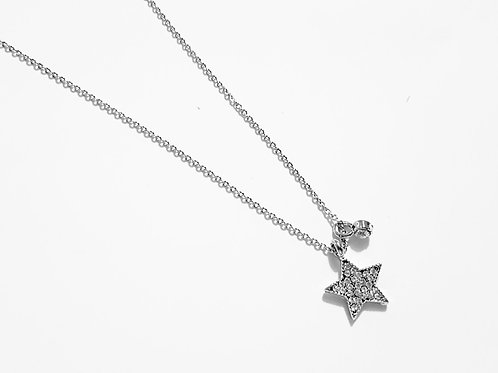 DN19006 Silver Sparkle Star Necklace