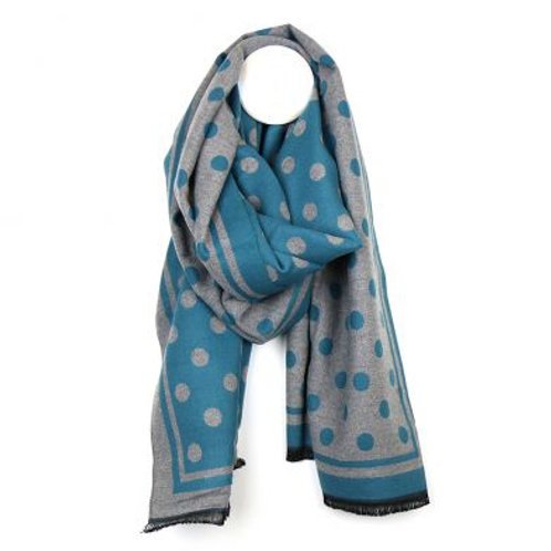 Teal and Grey Spot Scarf
