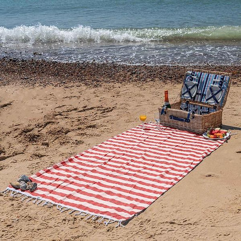 Red Stripe Beach Towel