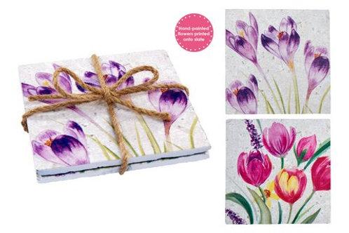 Flower Slate Coasters (Set of 2)