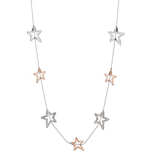 LN19038 Long Rose Gold Stars Necklace