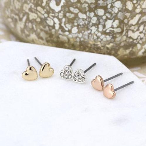E21013 Triple Set of Heart Earrings