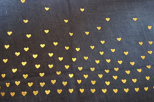 Navy Scarf with Gold Hearts
