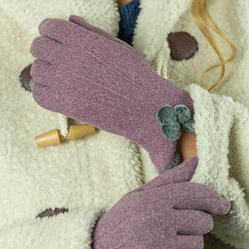 Pom Pom Gloves - Mauve
