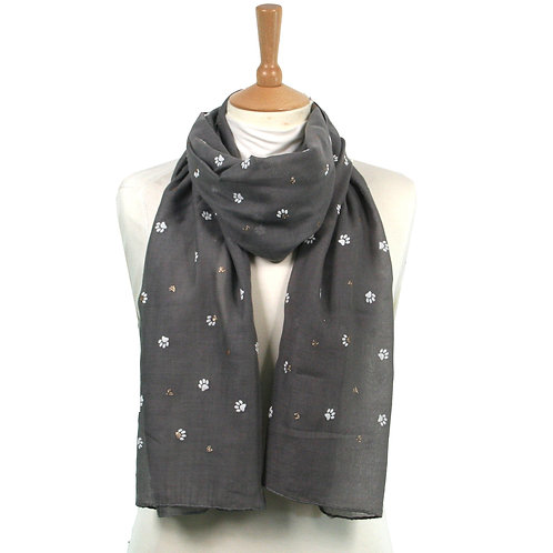 Grey Paws and Hearts Scarf