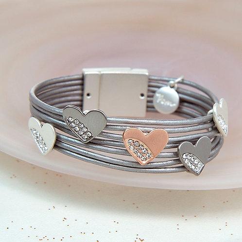 B19013 Grey Crystal Heart Leather Bracelet