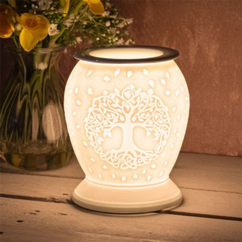 White Ceramic Aroma Lamp - Tree of Life