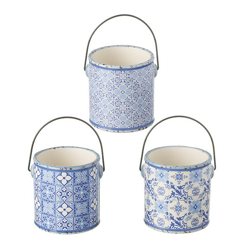 Blue Ceramic Pots (Set of 3)