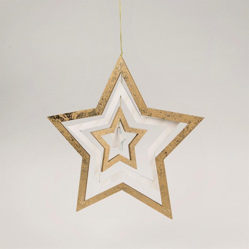 Gold White Hanging Star Sass Belle