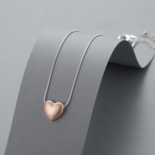 DN21006 Rose Gold Puffed Heart Necklace