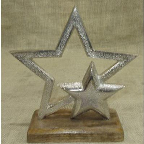 Aluminium Double Star on Wood