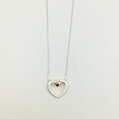 DN19017 Rose Gold Heart on Heart Necklace